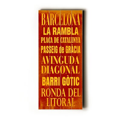Artehouse LLC Barcelona Transit Wood Sign