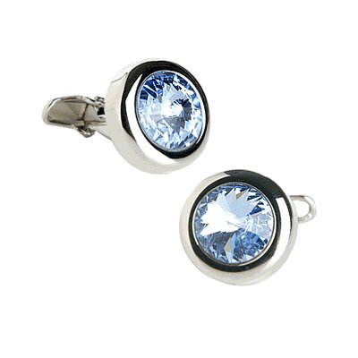 Soho Austrian Crystal Solitare Cufflinks in Light Sapphire