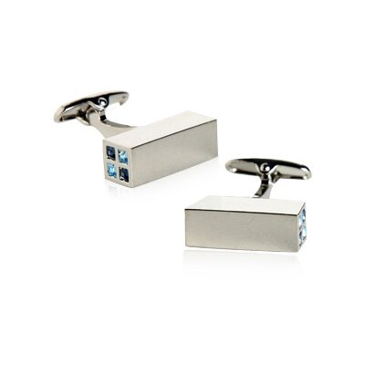 Austrian Crystal Highlights Cufflinks in Blue (Set of 2)