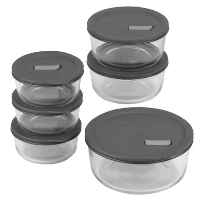 Pyrex No Leak Lids Twelve Piece Storage Vessels Set with Plastic Lids
