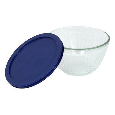 Pyrex Serveware Sculptured 3-Cup Bowl with Dark Blue Plastic Storage Cover