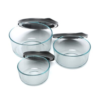 Pyrex No Leak Lids Six Piece Value Pack Storage Vessels Set with Plastic Lids