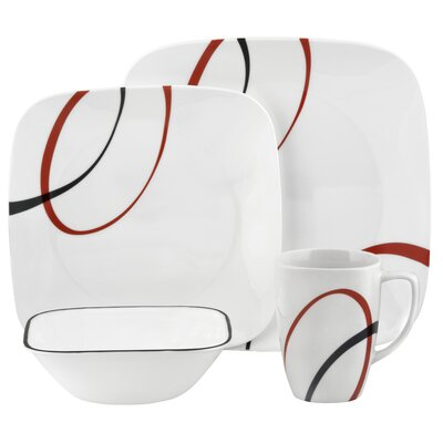 Fine Lines Square 16 Piece Dinnerware Set