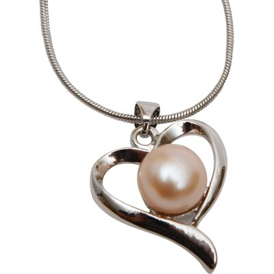 The Premium Connection Pink Freshwater Pearl Heart Pendant Necklace