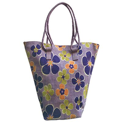 Jute Farm Natural Lavender Rose Jute Tote Bag