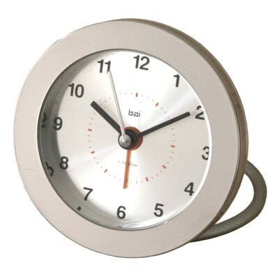 Diecast Round Travel Alarm Clock in Silver