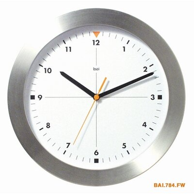Bai Design Brushed Aluminum Wall Clock Formula One in White