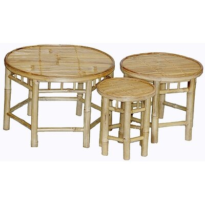 Natural Bamboo 3 Piece Nesting Accent Stools Set