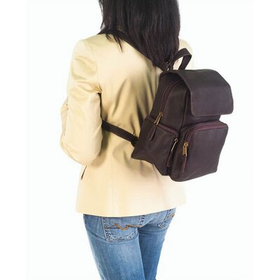 Clava Leather Vachetta Mid Size Multi-Pocket Backpack in Tan