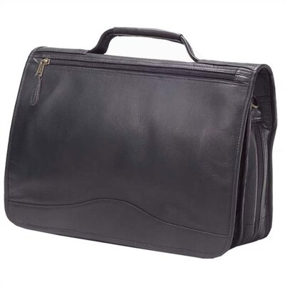 Vachetta Expandable Laptop Briefcase in Black
