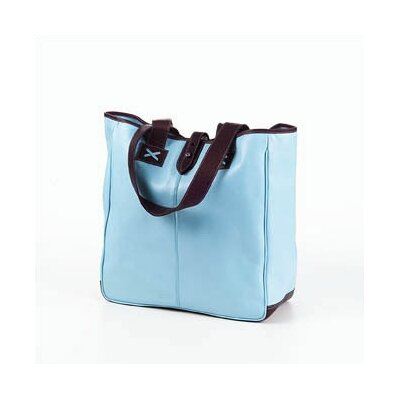 Colored Vachetta Oversized Tote in Blue/Café