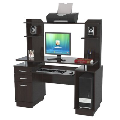 "Inval 53.38"" Computer Workcenter with Hutch"