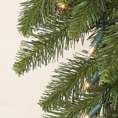 "Vickerman Co. Camdon Fir 7' 6"" Green Artificial Slim Christmas Tree with 700 Multicolored Lights with Stand"