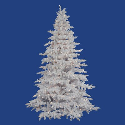 "Vickerman Co. Flocked White Spruce 4' 6"" Artificial Christmas Tree with 225 LED Warm White Lights with Stand"