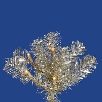 "Vickerman Co. Champagne Pencil 6' 6"" Artificial Christmas Tree with 300 Clear Lights"
