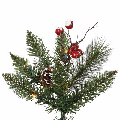 Vickerman Co. 7' Green Snowtip Berry/Vine Artificial Christmas Tree with 350 Clear Mini Lights with Stand