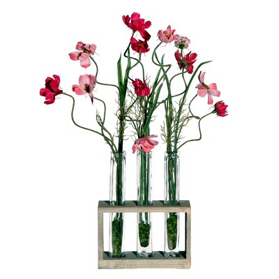 Vickerman Co. Floral Artificial Potted Cosmos Tubes in Pink and Red