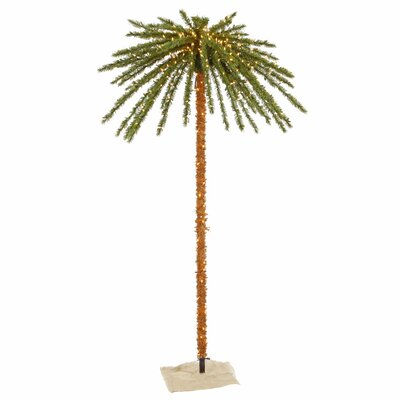 7' Green Outdoor Palm Artificial Christmas Tree with 500 Clear Lights