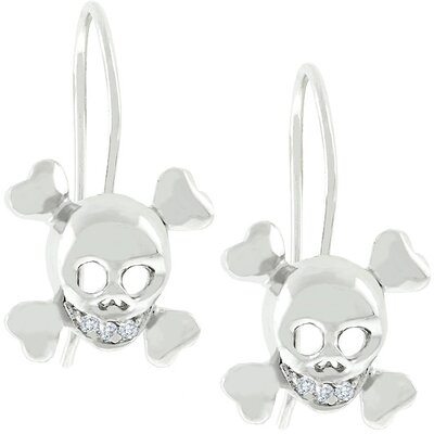 J Goodin White Gold Skull and Crossbones Earrings