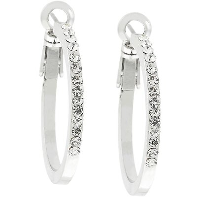 J Goodin Rhodium-Plated Pave Cubic Zirconia Hoop Earrings