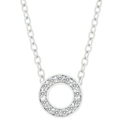 J Goodin Sterling Silver 'O' Cubic Zirconia Necklace