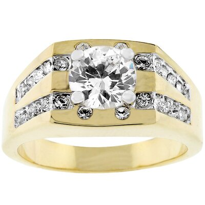 Gold-Tone Men's Square Top Cubic Zirconia Ring