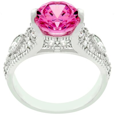 Sterling Silver Pink Ice Cubic Zirconia Antique Style Ring
