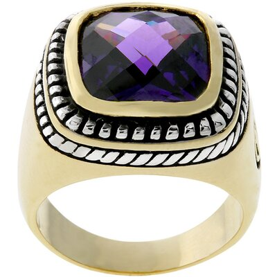 Two-Tone Designer Inspired Purple Cubic Zirconia Ring