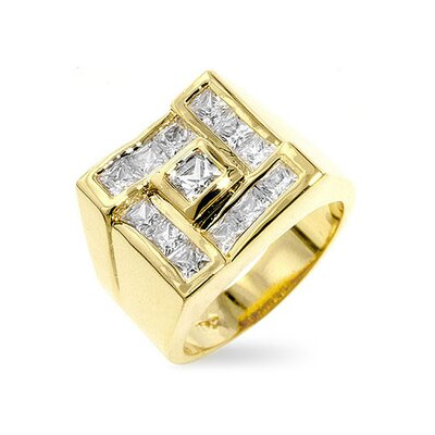Gold-Tone Contemporary Inspired Cubic Zirconia Ring