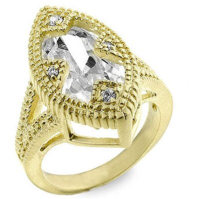J Goodin Gold-Tone Estate Inspired Cubic Zirconia Ring