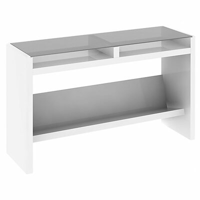 NEW YORK SKYLINE Laptop Sofa Table with Glass Top in Plumeria White Finish