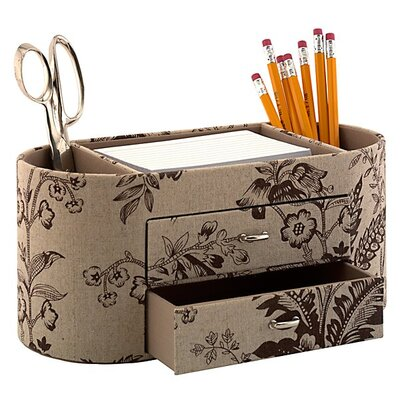 kathy ireland Office by Bush Desktop Organizer in Neutral & Chocolate Floral Print