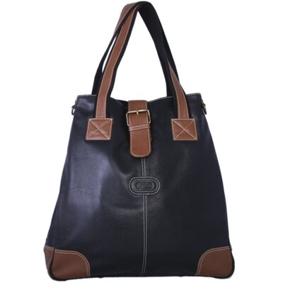 Milan Leather Tote in Black / Antique Tan