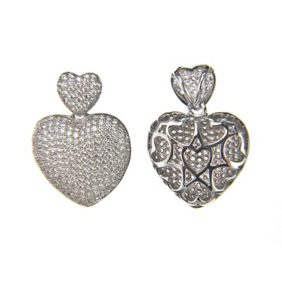 Edgewater Jewelry Micro Pave Cubic Zirconia Small Double Heart Pendant