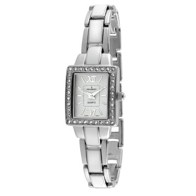 Women's Square Link Bracelet Watch in Silver and White Enamel