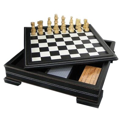 7 in 1 Black Leatherette Game Set