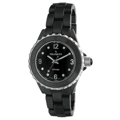 Peugeot Swiss Women's Swarovski Crystal White Dial Watch in Black