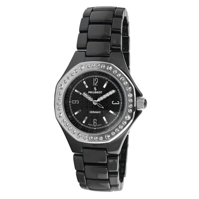 Peugeot Swiss Women's Ceramic Swarovski Crystal Dial Watch in Black with Silver Tone Hands