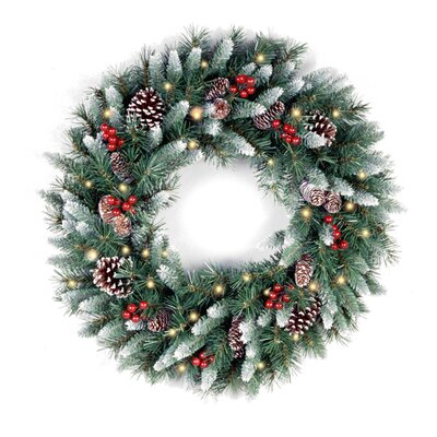 National Tree Co. Pre-Lit Frosted Berry Wreath