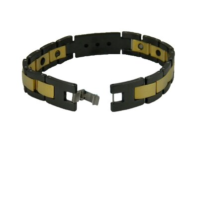 Obsessed Black and Gold Tungsten Men's Bracelet with CZ Stones