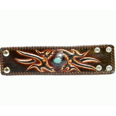 Tribal Leather Bracelet with Center Turquoise Look