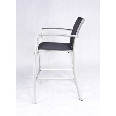 Les Jardins Out of Blue Elysun Barstool with Armrest in Silver with Grey Sling