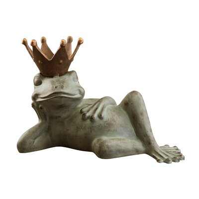SPI Home Lazy Frog Prince Bird Feeder Statue