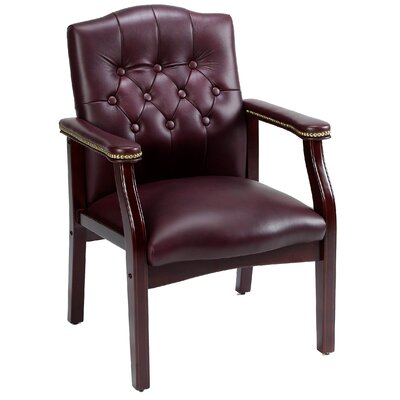 Boss Office Products Leather Guest Chair with Brass Head Nail Trim