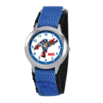 Marvel Kid's Captain America Time Teacher Velcro Watch in Blue