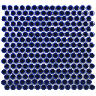EliteTile Penny 12&quot; x 12-1/4&quot; Porcelain Mosaic in Cobalt