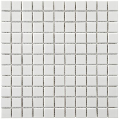 "EliteTile Retro 11-3/4"" x 11-3/4"" Porcelain Square Mosaic in White"