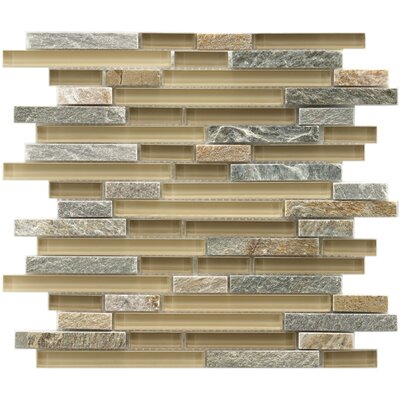 "EliteTile Sierra 11-3/4"" x 11-3/4"" Glass and Stone Piano Mosaic in Suffolk"