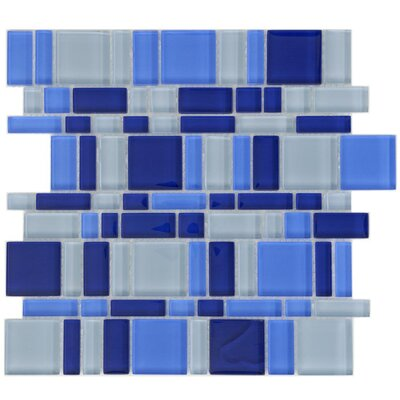 "EliteTile Sierra 11-3/4"" x 11-3/4"" Polished Glass Mosaic in Magic Celeste"