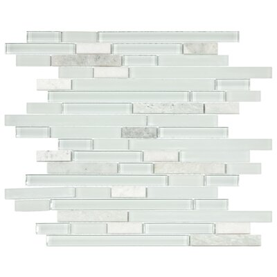 "EliteTile Sierra 11-3/4"" x 11-5/8"" Polished Glass and Stone Piano Mosaic in Ming"